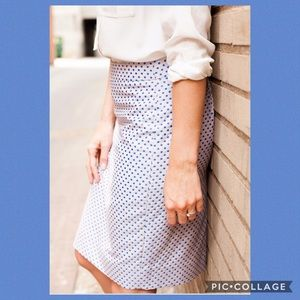J. Crew blue polka dot pencil skirt - size 6